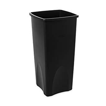 Rubbermaid Commercial FG356988BLA Square 23-Gallon Untouchable Trash Can, Black